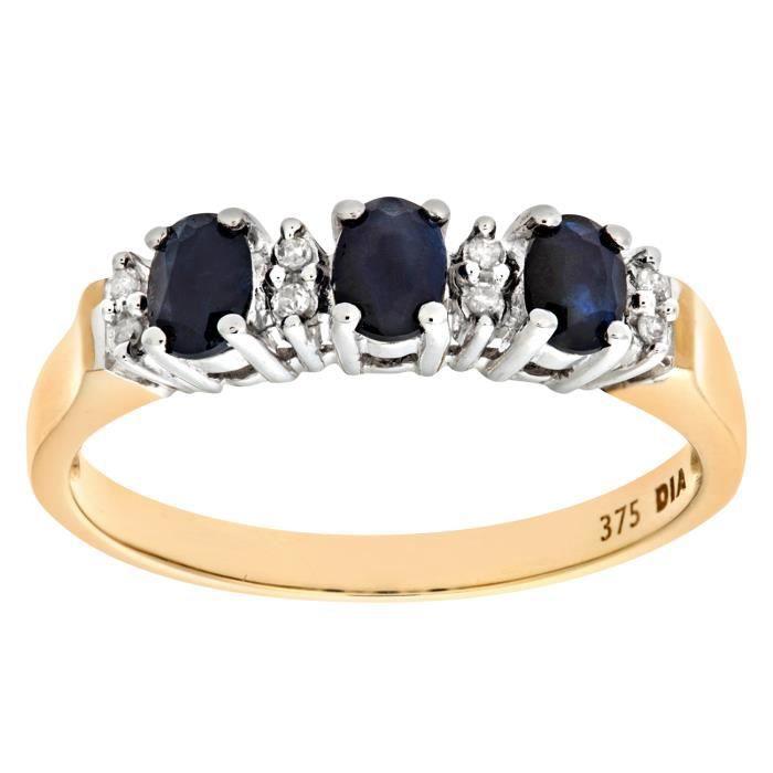 Revoni Bague alliance Saphir et Diamant Or Jaune 375° Femme: Poids du diamant : 0.04 ct - CD-PR06491YSA-R