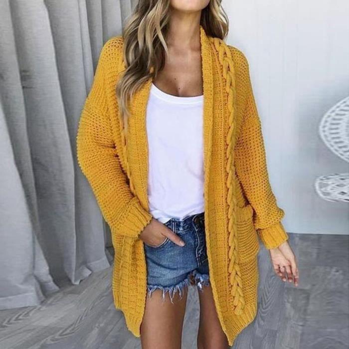 Manteau de cardigan à manches longues décontracté pour femmes avec poches