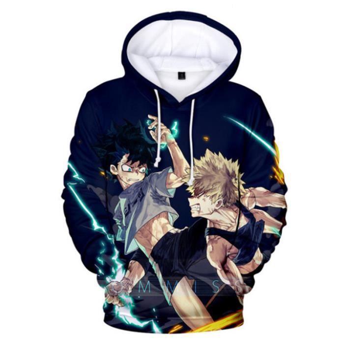 SWEAT-SHIRT Mixte - Sweatshirt à capuche imprimé mode My Hero Academia Enfants - bleu YH™