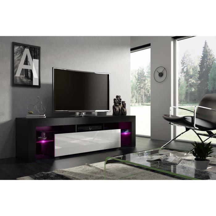 Meuble tv 160 cm noir mat et blanc laqué avec led