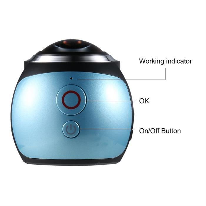 Mini caméra argentique VR 360 degrés Wifi 2448P 30FPS 16M bleu moir