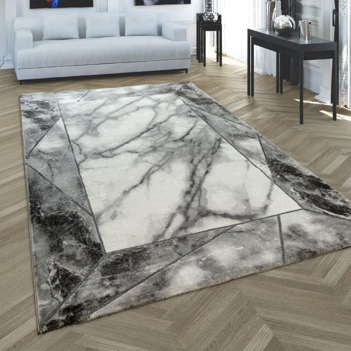 Tapis à poils courts gris argenté doux Séjour Optique marbre-Motif 3D Bordure [160x230 cm]