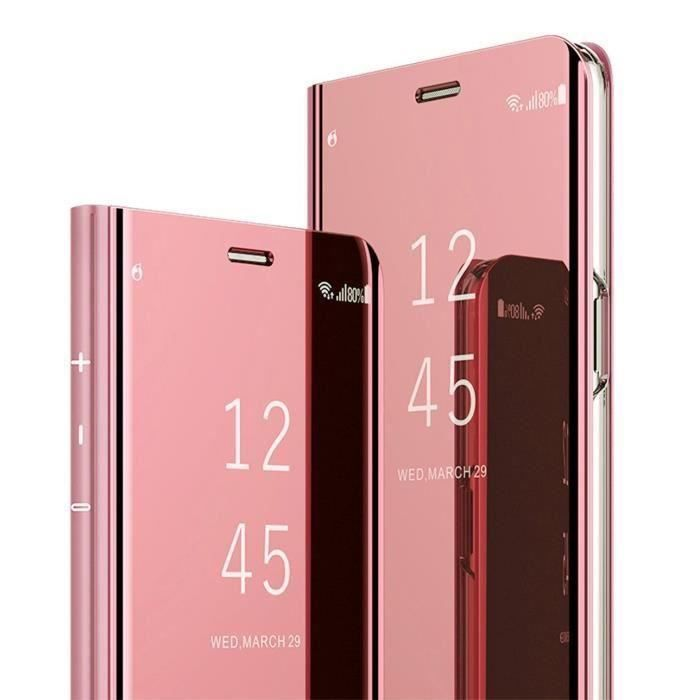 Coque OPPO Find X2 NEO, Clear View Transparente Miroir Smart Ultra Mince Léger avec Support pour OPPO Find X2 NEO, Or rose