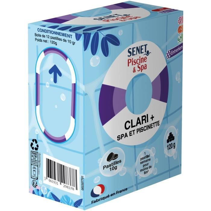 SENET Clarifiant eau spa et piscinette x12
