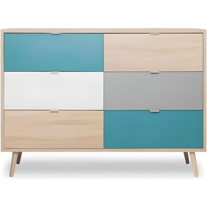 Commode scandinave 6 tiroirs multicolore CO7001