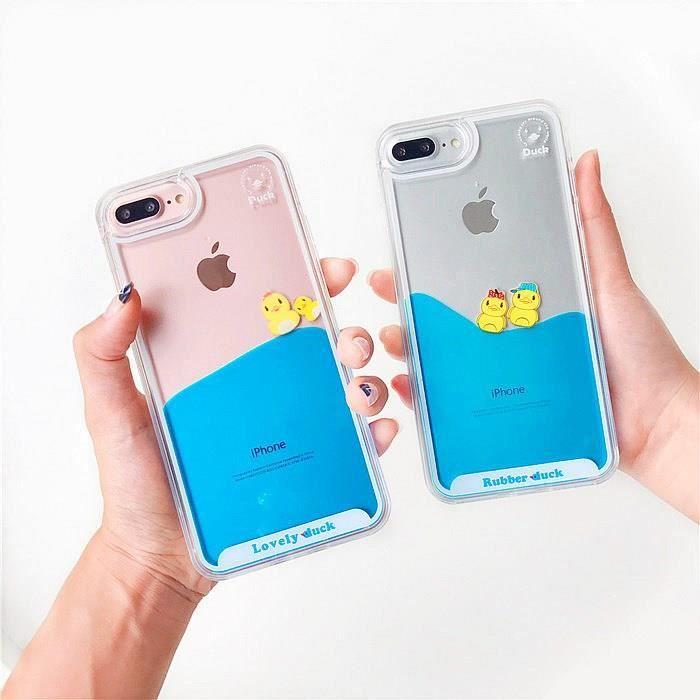 Coque iPhone 7 Plus.Réservoir d'aquarium bain de natation jaune canards dynamique fluide liquide couverture dure