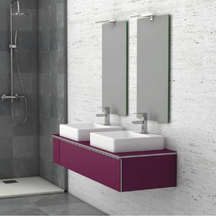 meuble suspendu salle de bain duo 140 auberginegris 140 cm r sine de synth se brillante 45 cm. Black Bedroom Furniture Sets. Home Design Ideas