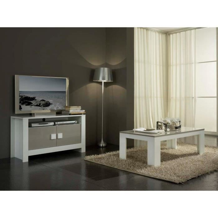 Pisa laque blanc et taupe ensemble salle a manger achat for Salle a manger taupe