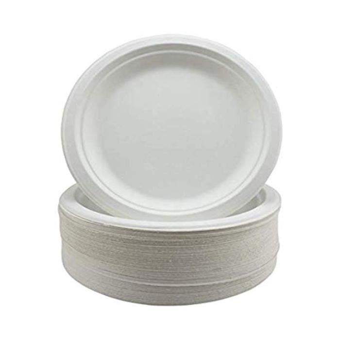 Adiserve 20 assiettes blanches filets or plastique jetables 15cm