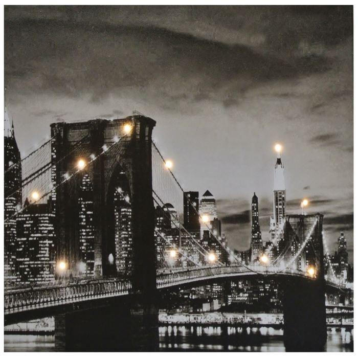 Tableau toile lumineuse led deco pont brooklyn achat vente tableau to - Tableau lumineux new york ...