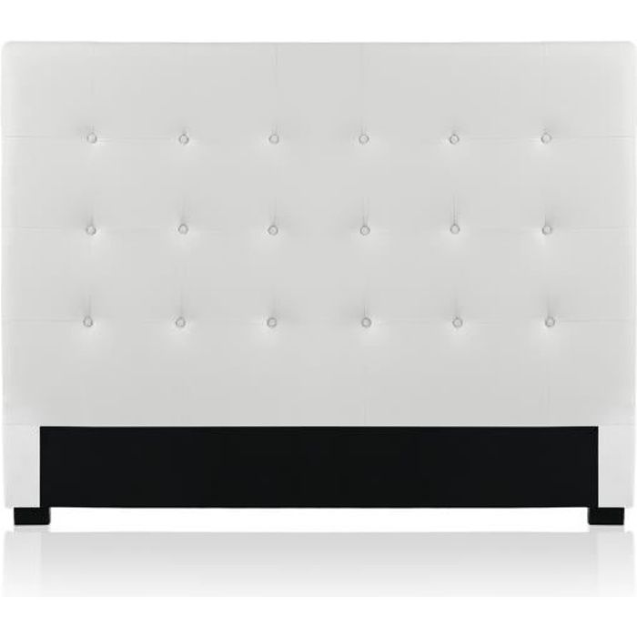 t te de lit capitonn e premium 160cm blanc achat vente t te de lit cdiscount. Black Bedroom Furniture Sets. Home Design Ideas