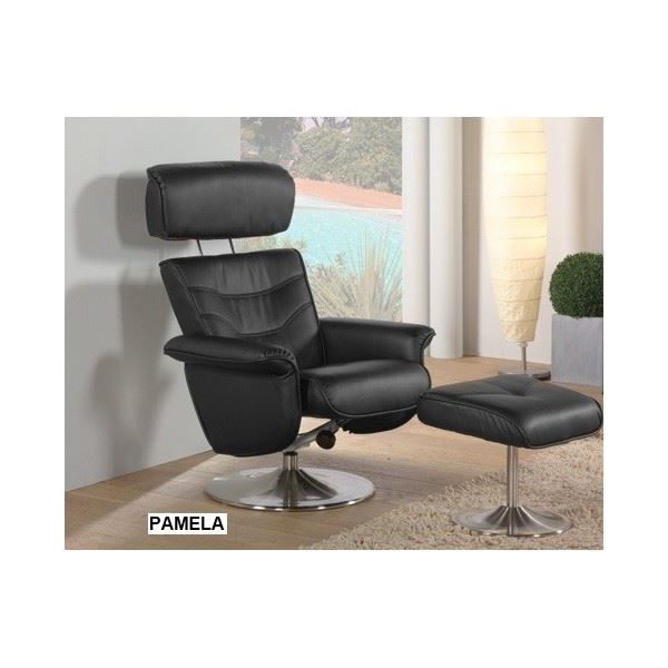 fauteuil de relaxation manuel pamela coloris n achat vente fauteuil cdiscount. Black Bedroom Furniture Sets. Home Design Ideas