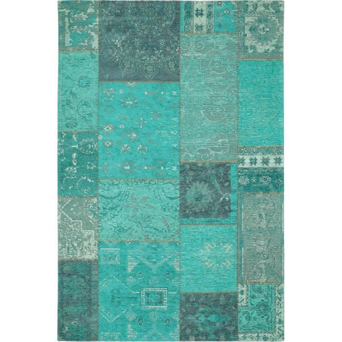 benuta tapis vintage rigina patchwork bleu 120x180 cm achat vente tapis les soldes sur. Black Bedroom Furniture Sets. Home Design Ideas