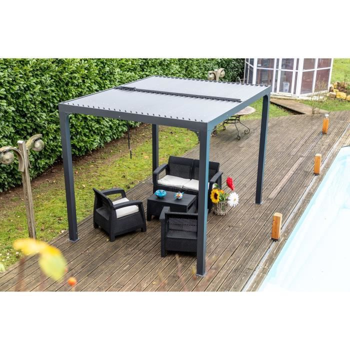 Habrita Pergola Bioclimatique En Aluminium Balcon Et Terrasse Gris Anthracite Achat Vente Pergola Pergola Per 2430 Bi Cdiscount