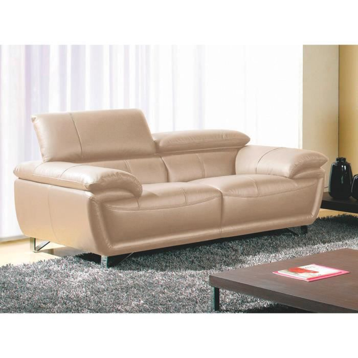 canap cuir 2 places baya beige achat vente canap sofa divan cdiscount. Black Bedroom Furniture Sets. Home Design Ideas