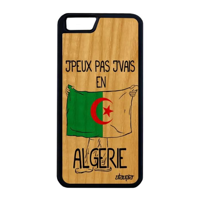Coque iPhone 6 6S Plus bois silicone j'peux pas j'vais en algerie 64 Go de Apple iPhone 6 Plus iPhone 6S Plus