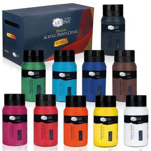 PEINTURE ACRYLIQUE Artina Lot de 10 tubes d'acrylique de 500ml peintu