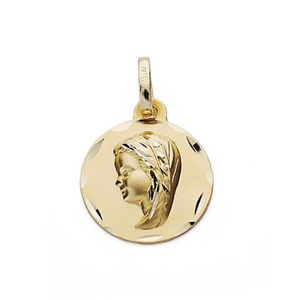 PENDENTIF VENDU SEUL Médaille pendentif Vierge Pendentif fille en or 18