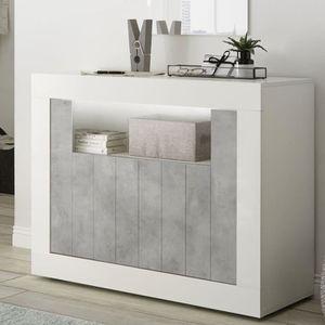 BUFFET - BAHUT  Petit buffet 110 cm moderne blanc effet béton gris