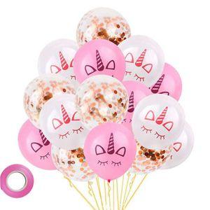 MissGood Gold Confetti Balloon Cake Topper Ruban De Paille Ballons en Latex pour Anniversaire De Mariage Anniversaire Baby Shower Parti D/écoration Pack De 5