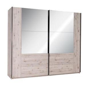ARMOIRE DE CHAMBRE Armoire 2 portes miroirs effet bois Paris