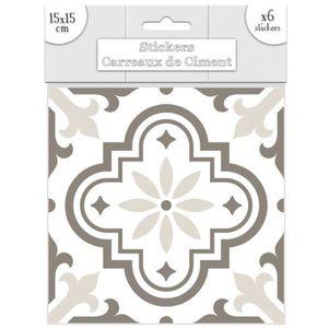 STICKERS Set de 6 stickers 'Carreaux de Ciment' greige - 15