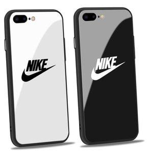 2pcs coque iphone 7 8 nike blanc logo noir verre c