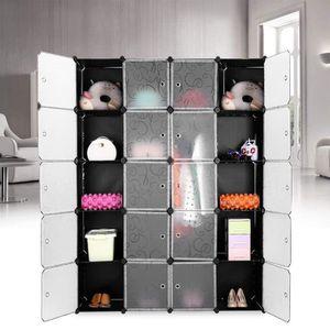 ARMOIRE DE CHAMBRE Armoire Penderie 20 Cubes Modulaire Étagères Plast
