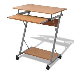BUREAU  Table Bureau ordinateur étude clavier Brune 60 x 4