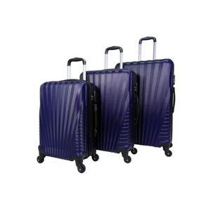 SET DE VALISES Set de 3 valises 4 roues rigide Bleu Marine - Eleg
