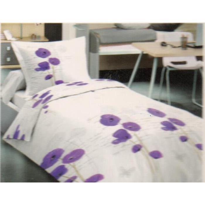 Parure de couette- Lit 1 place – 2 pièces (140x200cm) – Coquelicot Violet