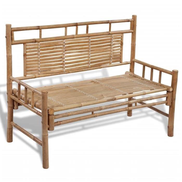 Magic'4925Banc de jardin Chaise de jardin fauteuil de jardin 2-3 Places Style Contemporain Banquette - 120 cm Bambou