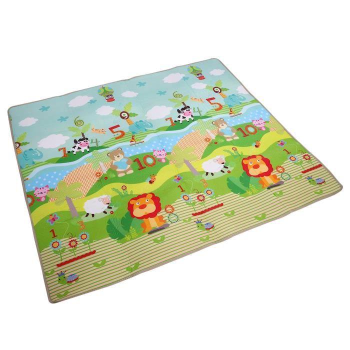 Sonew tapis de jeu Tapis de jeu anti-dérapant antidérapant pour bébé pour bébé (Happy Park + Zoo)