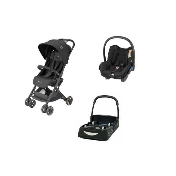 BEBE CONFORT Lara2 Pack Poussette Ccnne - Essential Black - Ultra compacte + Siège auto Cosi Citi+ Base Citi - Naissance à 4 ans