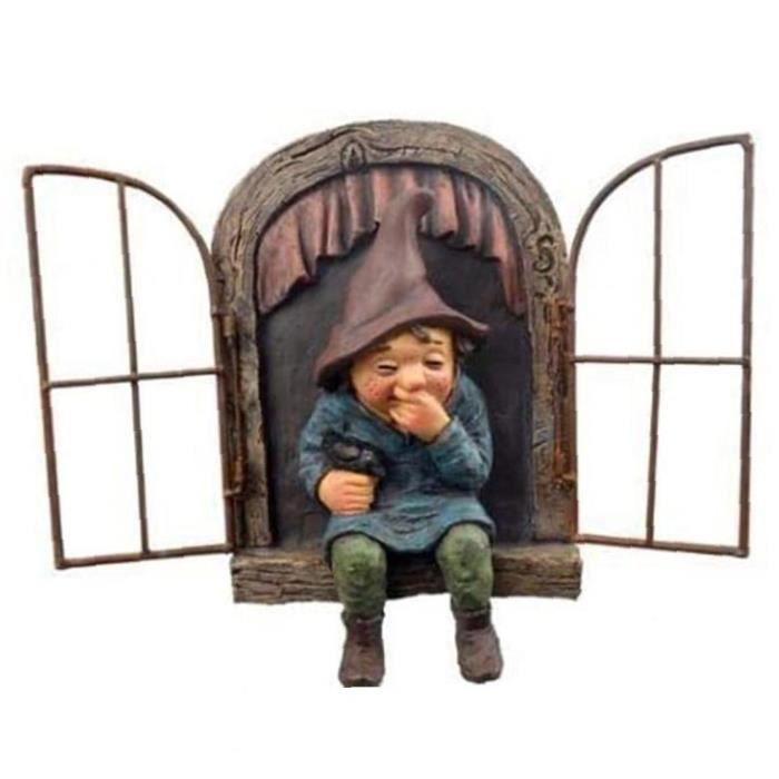 Gnome Statue Jardin Mini Elf Fenêtre Nain Ornement Micro Paysage Sculpture Artisanat Décoration pour jardin intérieur extérieur Co