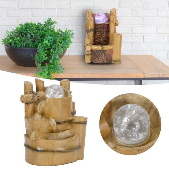 Fontaine de table Fontaine de Bureau LED Fontaines à Eau en Résine Décor à Maison de Table Intérieur(061 Prise EU-CHE