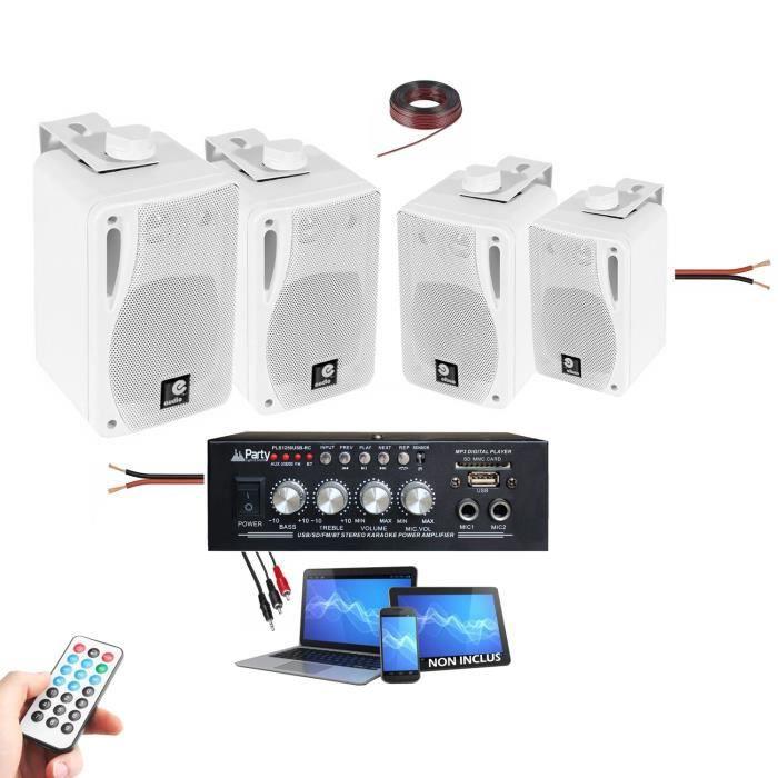 PACK SONO HIFI 4 ENCEINTES + 1 AMPLI USB BLUETOOTH Magasin, institue de beauté, Onglerie, cabinet coiffure maison PA DJ MIX PUB BAR