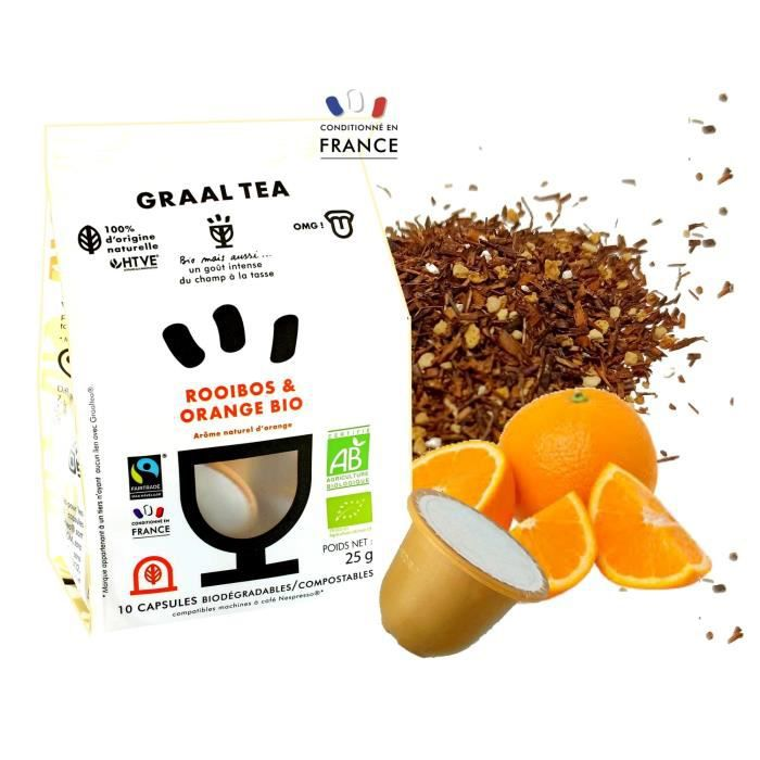 GRAALTEA - Infusion Dégustation - Rooibos & Orange BIO en Capsule - 100% d'Origine Naturelle - Made in France - 1 Paquet x 10 Capsul