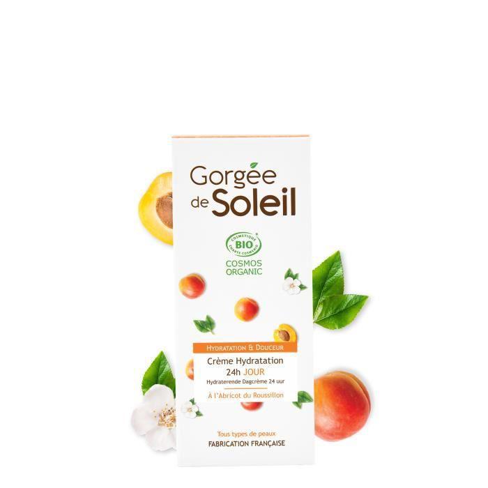 Gorgee De Soleil Creme De Jour Hydratation 24h - Certifiée Bio Cosmos & Sud De France - Tous Types De Peaux (50ml)