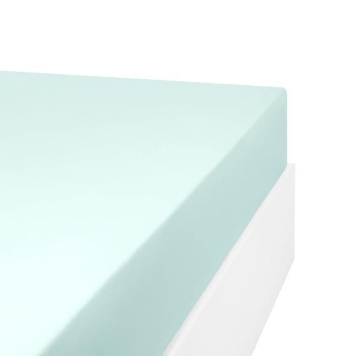 LINANDELLE - Drap housse en mélange 57 fils AISANCE - Vert clair - 70x190 cm