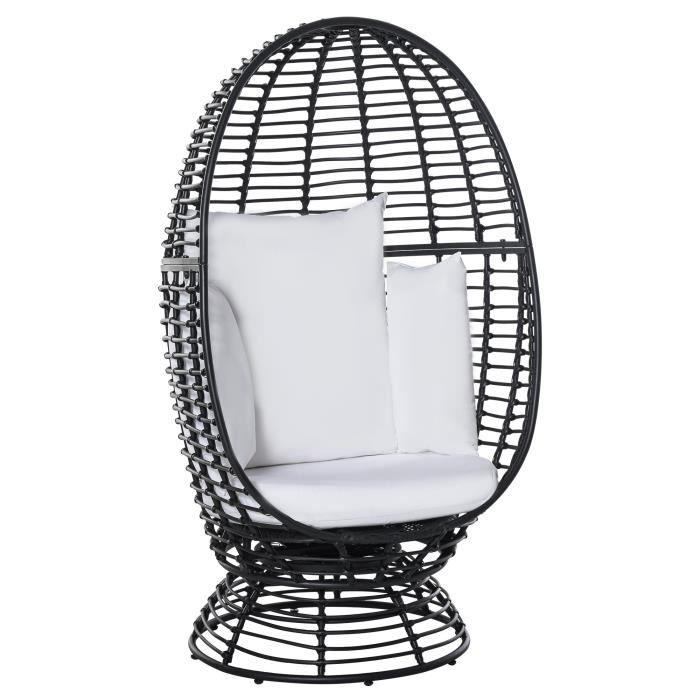 Fauteuil rond de jardin fauteuil cocon pivotant grand confort coussins inclus polyester blanc résine tressée noire