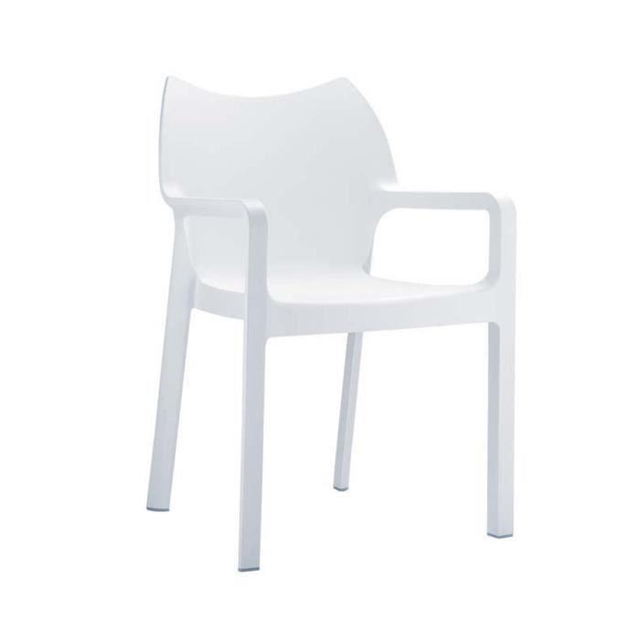 Chaise de jardin empilable en plastique blanc, Dim : H84 x P53 x L57 cm