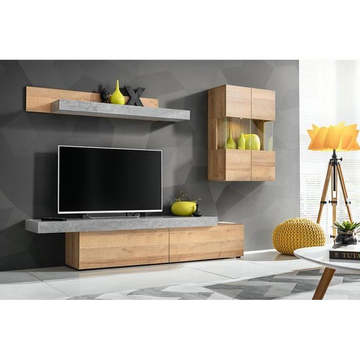 Ensemble salon ALLURE. Composition TV murale coloris bois et gris effet béton. LED incluses. 250 Marron