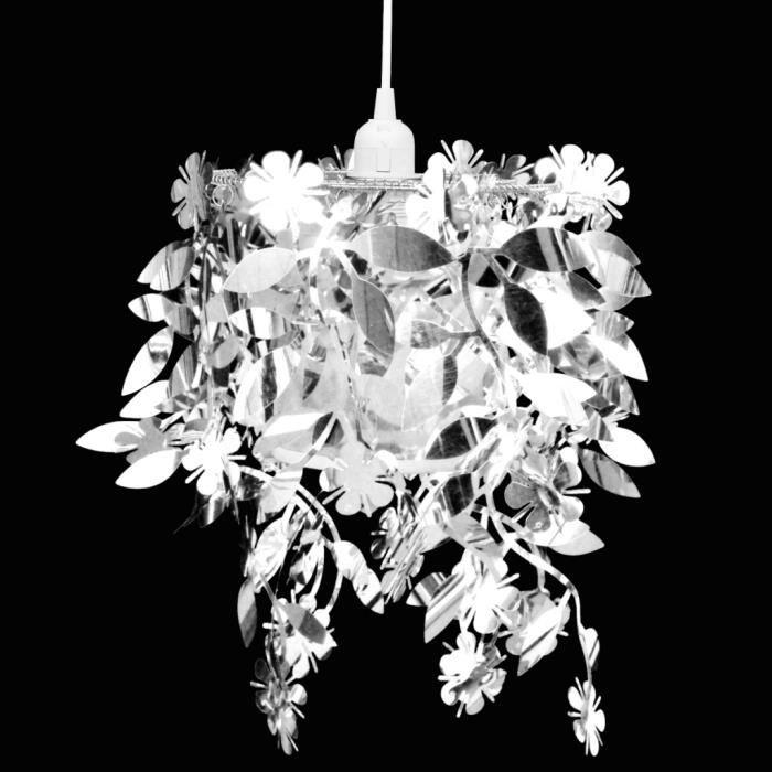 Lustre aux Paillettes d'argent Lampe pendante 21,5 x 30 cm Design classique et élégant de foyer salle à manger salon ou chambre