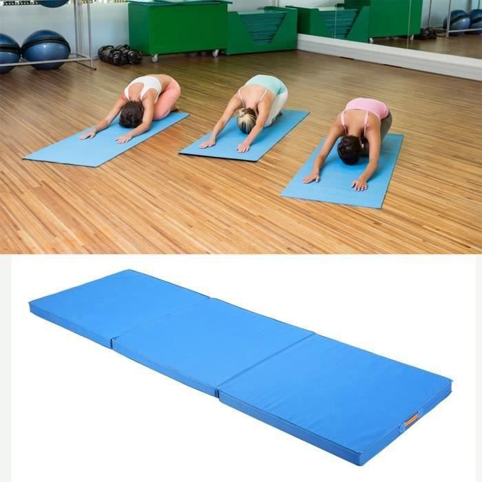 HT28934-Épais panneau pliant gymnastique Tapis Gym exercice Yoga Tri Mat Pad-Bleu-CY