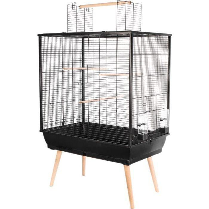 ZOLUX Cage surélevée Néo Jili pour oiseaux - L 78 x P 47,5 x H 112 cm - Noir