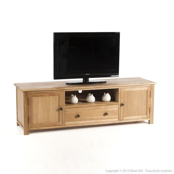 meuble tv en bois avec portes et tiroirs longueur 160cm. Black Bedroom Furniture Sets. Home Design Ideas