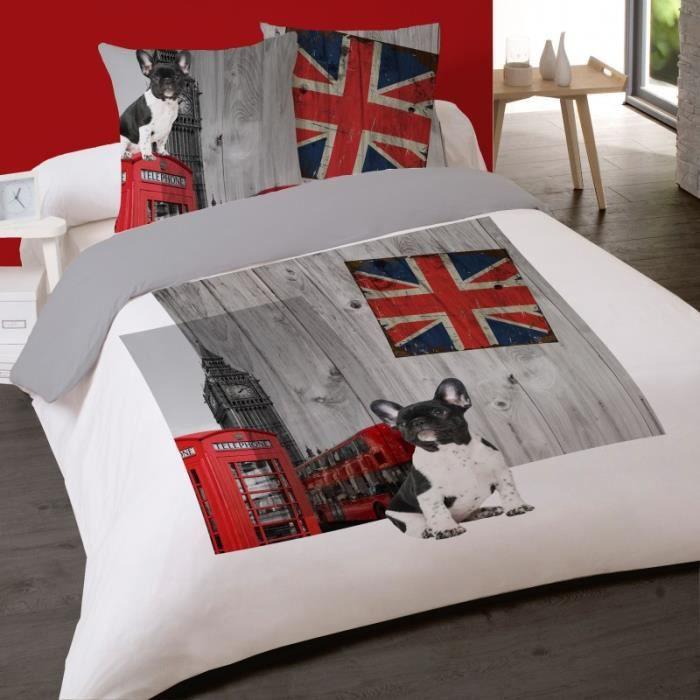 Housse De Couette Dog In London 200 X 200 2 Taies Coton 100 Achat Vente Housse De Couette Et Taies Cdiscount