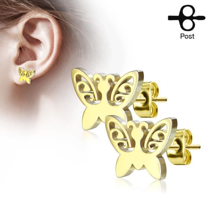 Nouveau Femme Papillon Jaune Finition Blanc Diamant 12 mm Clous Boucles d/'oreilles