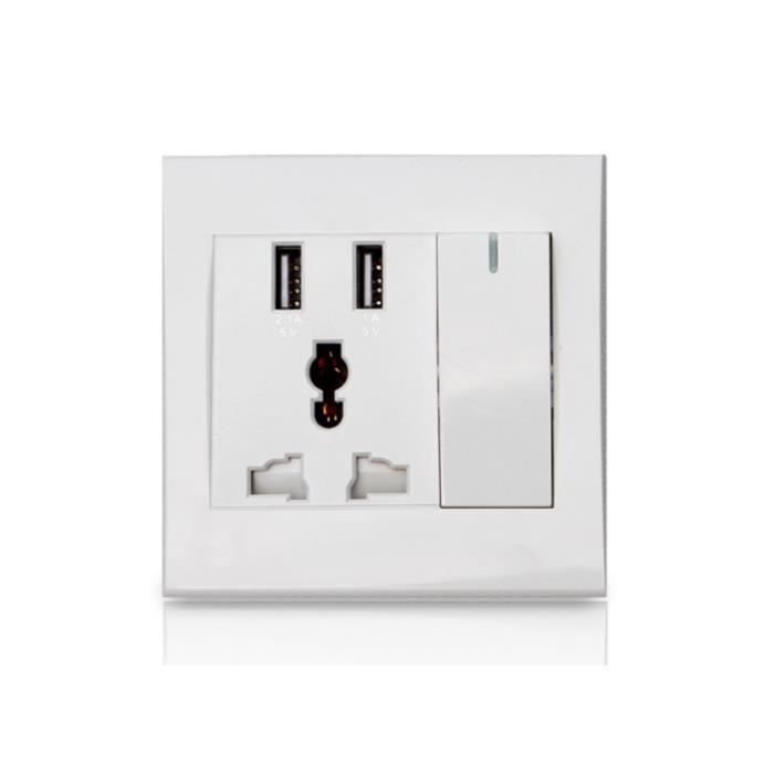 prise de courant avec usb port interrupteur blanc achat vente prise cdiscount. Black Bedroom Furniture Sets. Home Design Ideas